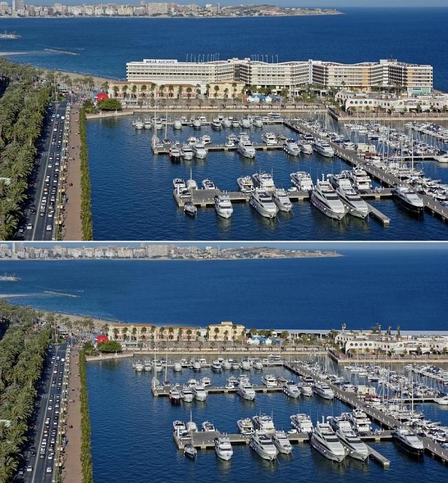 Vista del puerto del puerto de Alicante, con y sin Hotel Meliá