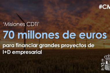 Aprobados 70 millones para el programa 'Misiones CDTI' que financiará proyectos de energía y movilidad sostenible