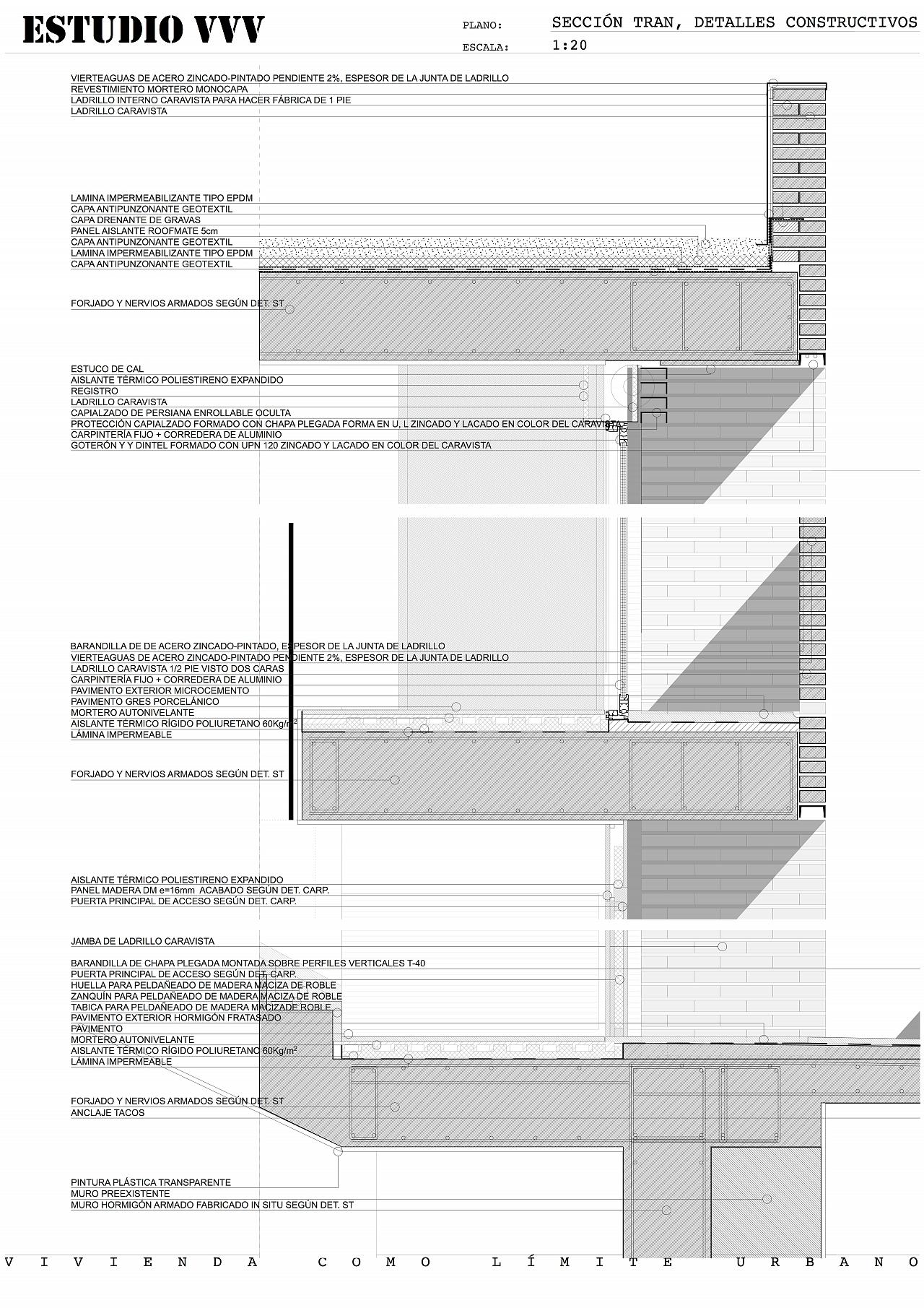 Vida del proyecto vivienda como l mite urbano - Detalle carpinteria aluminio ...