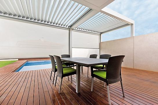 P rgolas bioclim ticas en casa minimalista cubiertas - Pergolas minimalistas ...