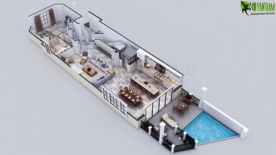 Uso de efectos inteligentes de diseño de planos de lujo de 3D renderizado para casa residencial